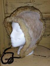 VINTAGE BICK UNISEX REAL SHEARLING SHEEPSKIN LAMB FUR BONNET HAT M NH USA