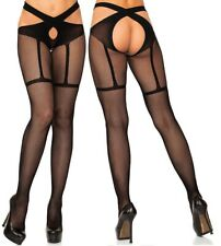 Faux Garter/Suspender Fishnet Wrap Around Crotchless Tights, Open Crotch/Gusset