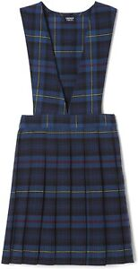 Girls V-Neck Jumper School Dress Uniform Elastic Waistband Size 7 Blue Red Plaid