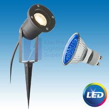 BLUE LED GU10 DIRECTIONAL BLACK GARDEN SPIKE / WALL LIGHT OUTDOOR SPOTLIGHT IP44