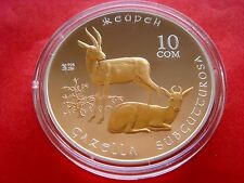 Kyrgyzstan 10 som  GOITERED GAZELLE 2013 Proof gold plated silver animal fauna