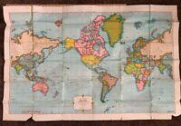 "Vintage Cosmopolitan Map of The World Rand McNally Large 34""x50"""