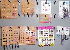 Wholesale Lot Earrings 120 Pair Stud Dangle Pierced New Multi Color Silver Gold