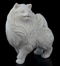 German Spitz Dog White Marble Figurine Stone Sculpture Russian Art Statue 3""