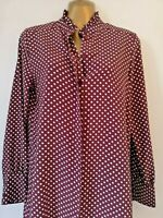NEW Primark 8 Tall Red Spot silky Long Sleeve work smart T Shirt Tunic Blouse