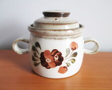 Denby Serenade Lidded Individual Casserole Soup Bowl Brown Flower Stoneware