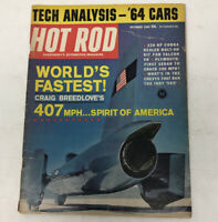 Vintage HOT ROD Magazine October 1963 Issue World's Fastest, 220 HP Cobra, Indy