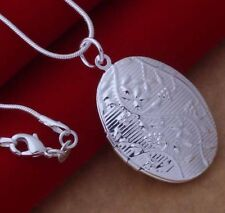 925 Sterling Silver Oval Photo Locket Pendant Charm Necklace Women Jewelry Gift