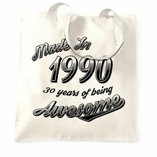 30th Birthday Tote Bag Made in 1990 30 Years Of Awesome Retro Gift Idea