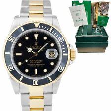 Rolex Submariner Fecha 18K de dos tonos Oro Acero Reloj Negro De 40mm 16803 Caja Papeles