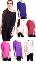 Ladies Plain Chiffon Kimono Batwing Off Shoulder Lightweight Summer Top UK Size