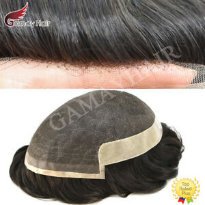Fine Welded Mono Lace Front Mens Toupee Hairpiece Poly Skin Pu Human Hair System