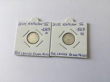 2 Pièces Argent 20 Centimes Napoléon III 1867 a 1867 BB