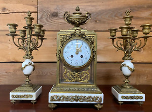 LOWER PRICE-EARLY FRENCH PARIS ORNATE SAMUEL MARTI MANTEL CLOCK WITH CANDELABRAS