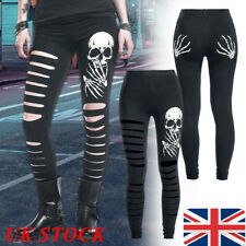 UK Women Cut Out Pants Leggings Skull Head Bones High Waist Trousers Hippop