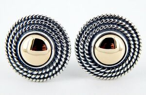 Retired James Avery Sterling and 14K Round Rope Dome Earrings 16.3 Grams