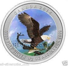 2015 Bald Eagle Colorized Silver Coin - Canada .9999 Silver 100pcs.Minted
