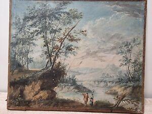 Huile sur toile 19 ème siècle couple dans la nature tableau ancien old painting
