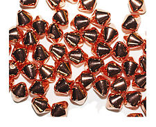 Pyramid Bicone 6mm Shiny Bright Copper Metalized Metallic Beads