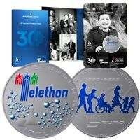 """2020 * 5 Euro Argento ITALIA """" 30° Anniversario della Fondazione Telethon"""" FDC"""