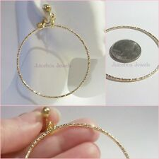 """CLIP ON 2.25"""" GOLD TONE Round Thin Texture Hoop Non-Pierced Trendy Earrings B28"""