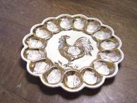 "VINTAGE 10"" Rooster Chicken Hen Deviled Egg Plate Tray Dish Ceramic Tray Platter"