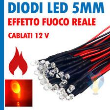 10 PEZZI DIODI LED 5mm effetto Fuoco Reale Tremolante Sfarfalla CABLATI 12V
