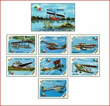 LAO8505 Airplanes landing on water 7 stamps and block