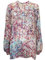 Next Ladies Pink Floral Print Notch Neck Long Sleeve Chiffon Blouse Top Summer