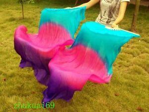 1 Pair(Left+Right)100% Silk belly dance fan veil Blue/Rose Red/Purple(1.5m 1.8m)
