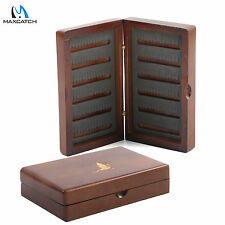 Natural Wooden Fly Box Fly Fishing Tackle Box Double Side Slit Foam Insert
