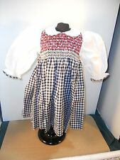 "24"" OLD STORE STOCK BLK/WHT CHECK DOLL DRESS W/ RED SMOCKING & MATCHING PANTIES"