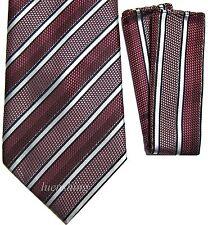 New Polyester Woven Men's Neck Tie set black & pink & plum Necktie wedding prom