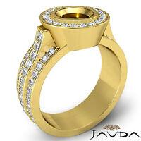 Diamond Engagement Huge Ring Round Semi Mount 14k Yellow Gold Halo Pave 1.65Ct