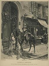 ANTIQUE SOLDIER EQUESTRIAN BLACK HORSE MAIL CARRIER STREET SHOP BROOM DOG PRINT