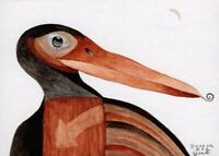 "ACEO Original ""The Bird Bard"" by Joseph Ray York (2.5x3.5in.)"