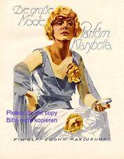 Parfüm Klarybella XL Reklame 1924 Ludwig Hohlwein Dame blaues Kleid blond +