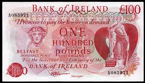 real bank of ireland ltd belfast £100 banknote  1974 1984 VF VF+