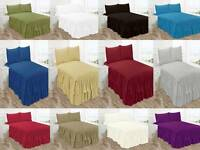 3PC JACKY BEDSPREAD COVERLET SET PINSONIC SOLID DOUBLE RUFFLE QUILT QUEEN KING