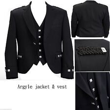 "New Argyle Black Kilt Jacket With Waistcoat/Vest Handmade - Sizes 36""- 54"""