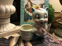 "Shawnee-Small Pig Planter-ca 1940's-Pastel Colors-Pink/Blue-4.75""W X 4.5""H-NICE!"