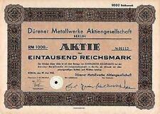 Dürener Metallwerke AG Berlin hist Aktie 1942 Düren Busch-Jäger Duralumin Quandt