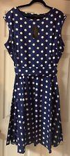 Ladies Vintage Retro 1950s 1960s Rock N Roll Polka Dot  Style Dress Size 24