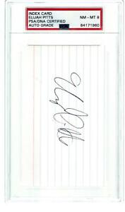 ELIJAH PITTS, GREEN BAY PACKERS SUPER BOWL I&II CHAMPS, SIGNED INDEX CARD