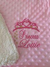 Personalised Dimple  Fleece Baby Blanket Princess Tiara Extra Thick Luxury Minky