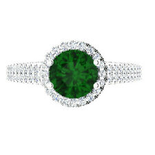 1.57 Ct SI1 Genuine Emerald Engagement Ring 14K White Gold Diamond Rings Size N