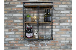 Industrial Wall Cabinet Metal Two Shelf Storage unit with Cup rack 7729