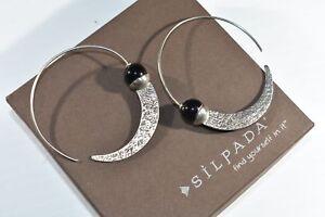Silpada Sterling Silver Chalcedony Comet Tail Hoop Earrings  W1874 Popular MINT