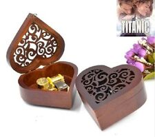 Heart Carving Wood Wind Up Music Box  : MY HEART WILL GO ON