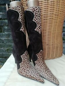 Vtg 90s Cafe Noir Genuine Leather Giraffe Print Brown & Beige Boots UK . EU 38.